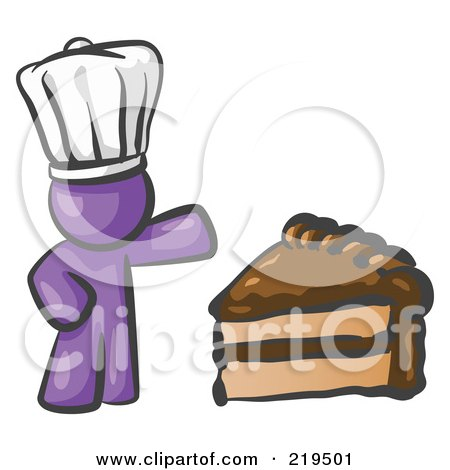 Clipart Illustration of a Purple Chef Man Wearing A White Hat And Presenting A Tasty Slice Of Chocolate Frosted Cake by Leo Blanchette
