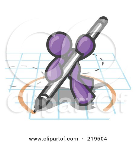 Clipart Illustration of a Purple Man Holding a Pencil and Drawing a Circle on a Blueprint by Leo Blanchette