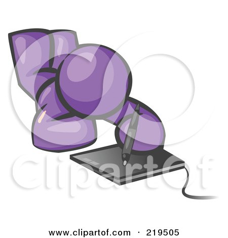 Royalty-Free (RF) Clipart Illustration of a Purple Design Mascot Laying On His Belly And Drawing On A Tablet by Leo Blanchette