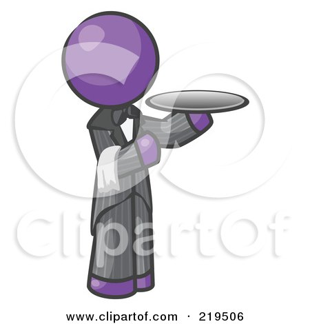 Royalty-Free (RF) Clipart Illustration of a Purple Man Waitor Holding A Platter by Leo Blanchette