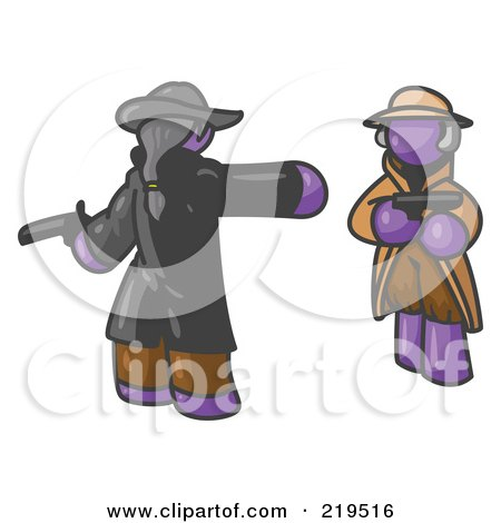 Clipart Illustration of a Purple Man Challenging Another Purple Man to a Duel With Pistils  by Leo Blanchette