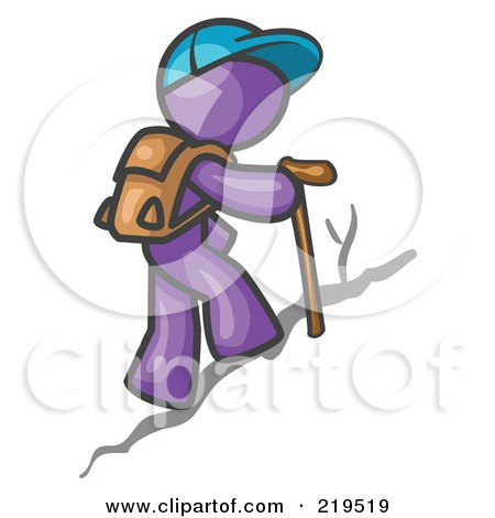 Royalty-Free (RF) Clipart Illustration of a Purple Man Backpacking and Hiking Uphill by Leo Blanchette