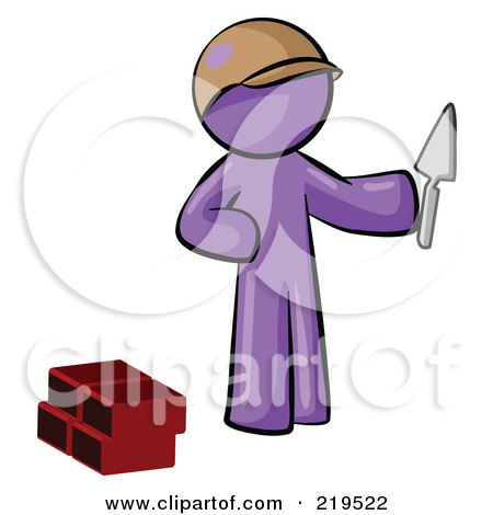 Royalty-Free (RF) Clipart Illustration of a Purple Man Brick Layer Holding A Trowel by Leo Blanchette