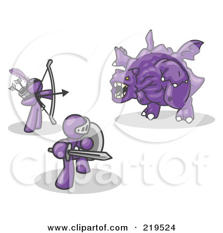 Clipart Illustration of Two Purple Men Working Together to Conquer an Obstacle, a Dragon by Leo Blanchette