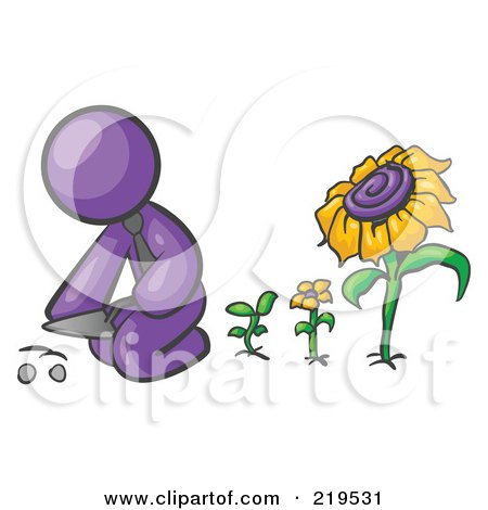 Clipart Illustration of a Purple Man Kneeling By Growing Sunflowers To Plant Seeds In A Dirt Hole In A Garden by Leo Blanchette