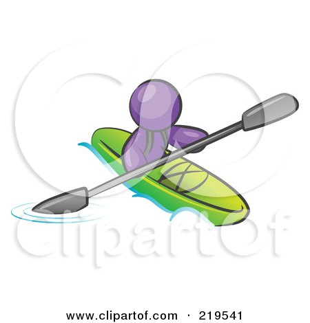 Clipart Illustration Of A Purple Man Paddling Down River In Green Kayak By Leo Blanchette