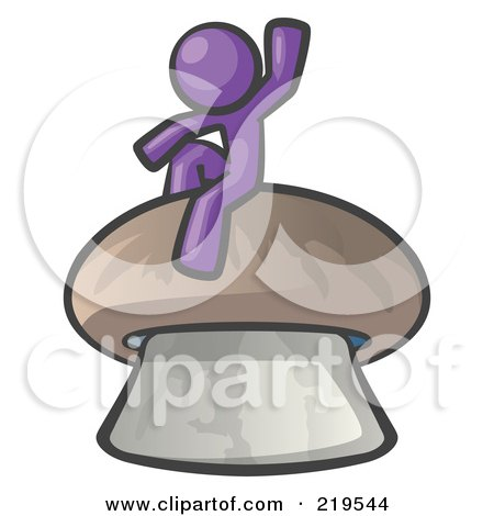 Royalty-Free (RF) Clipart Illustration of a Purple Man Design Mascot Waving And Sitting On A Mushroom by Leo Blanchette