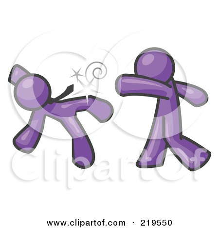 Royalty-Free (RF) Clipart Illustration of a Purple Man Being Punched by Another by Leo Blanchette