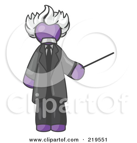 Clipart Illustration of a Purple Man Depicted as Albert Einstein Holding a Pointer Stick by Leo Blanchette