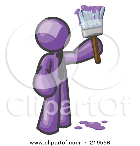 Royalty-Free (RF) Clipart Illustration of a Purple Man Painter Holding A Dripping Paint Brush by Leo Blanchette