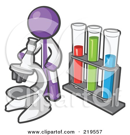 Royalty-Free (RF) Clipart Illustration of a Purple Man Scientist Using A Microscope By Vials by Leo Blanchette