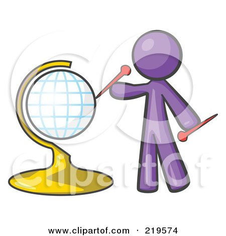 Royalty-Free (RF) Clipart Illustration of a Purple Man Inserting Pins On A Globe by Leo Blanchette
