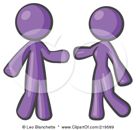 Royalty-Free (RF) Clipart Illustration of a Purple Man And Woman Preparing To Embrace by Leo Blanchette