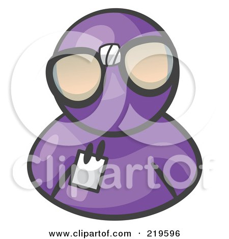 Royalty-Free (RF) Clipart Illustration of a Purple Man Wearing Large Nerdy Glasses by Leo Blanchette