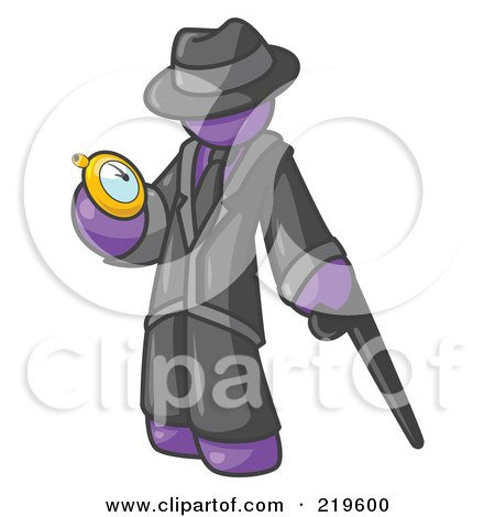 Clipart Illustration of a Purple Businessman Checking His Pocket Watch by Leo Blanchette