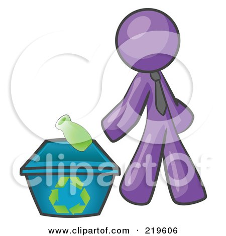 Clipart Illustration of a Purple Man Tossing A Plastic Container Into A Recycle Bin, Symbolizing Someone Doing Their Part To Help The Environment And To Be Earth Friendly by Leo Blanchette