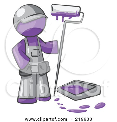 Royalty-Free (RF) Clipart Illustration of a Purple Man Painter With A Paint Pan And Roller by Leo Blanchette