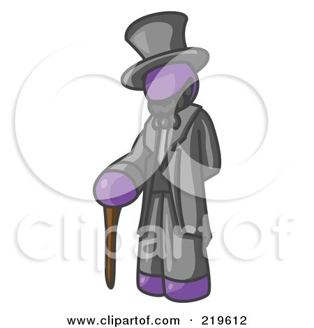 Clipart Illustration of a Purple Man Depicting Abraham Lincoln With a Cane by Leo Blanchette