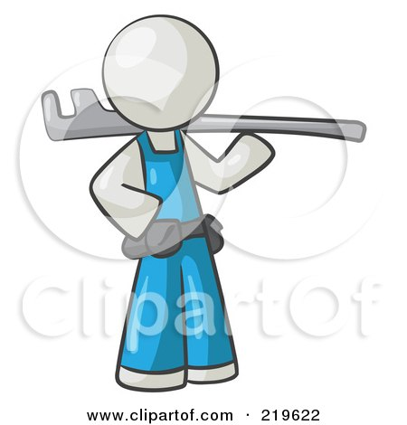 Royalty-Free (RF) Clipart Illustration of a White Man Plumber With A Tool by Leo Blanchette
