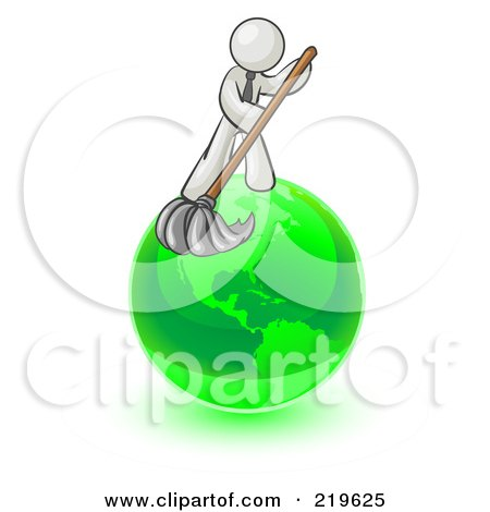 Royalty-Free (RF) Clipart Illustration of a White Man Using A Wet Mop With Green Cleaning Products To Clean Up The Environment Of Planet Earth  by Leo Blanchette