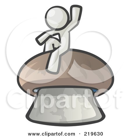 Royalty-Free (RF) Clipart Illustration of a White Man Design Mascot Waving And Sitting On A Mushroom by Leo Blanchette