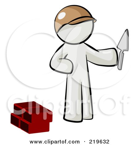 Royalty-Free (RF) Clipart Illustration of a White Man Brick Layer Holding A Trowel by Leo Blanchette