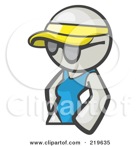 Royalty-Free (RF) Clipart Illustration of a White Woman Avatar Wearing A Visor And Shades by Leo Blanchette