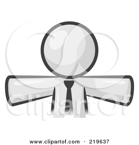 Royalty-Free (RF) Clipart Illustration of a White Businessman Wearing A Tie, Facing Front And Holding His Arms Out At His Sides by Leo Blanchette
