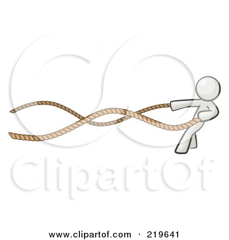 Royalty-Free (RF) Clipart Illustration of a White Design Mascot Man With A Rope Around His Waist by Leo Blanchette