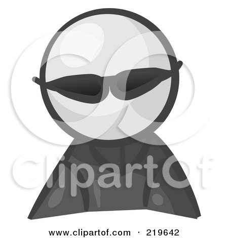 Royalty-Free (RF) Clipart Illustration of a White Man Avatar Spy Wearing Shades by Leo Blanchette