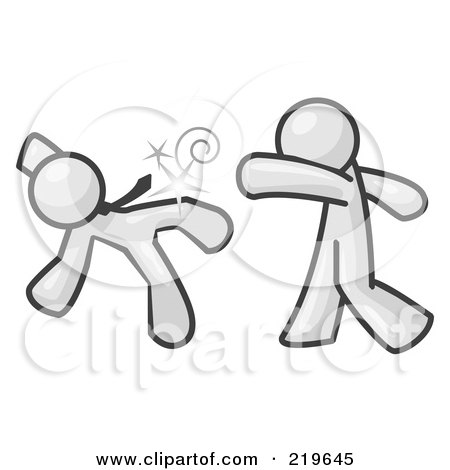 Royalty-Free (RF) Clipart Illustration of a White Man Being Punched by Another by Leo Blanchette