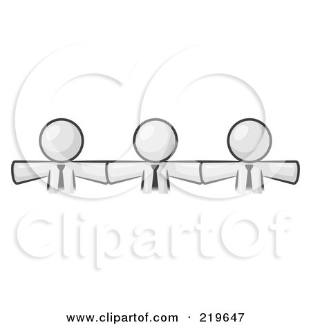 Royalty-Free (RF) Clipart Illustration of Three White Businessmen Wearing Ties, Standing Arm To Arm, Symbolizing Team Work, Support, Interlinking, Interventions, Etc by Leo Blanchette