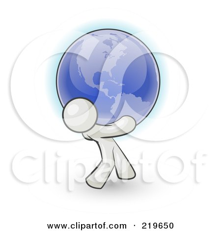 Royalty-Free (RF) Clipart Illustration of a White Man Carrying The Blue Planet Earth On His Shoulders, Symbolizing Ecology And Going Green  by Leo Blanchette