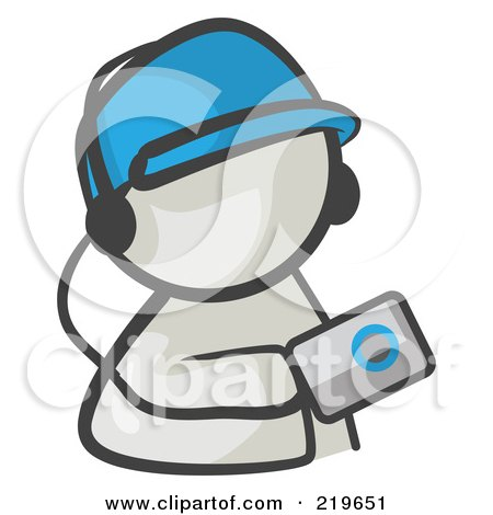 Royalty-Free (RF) Clipart Illustration of a White Man Avatar Holding An Mp3 Player by Leo Blanchette