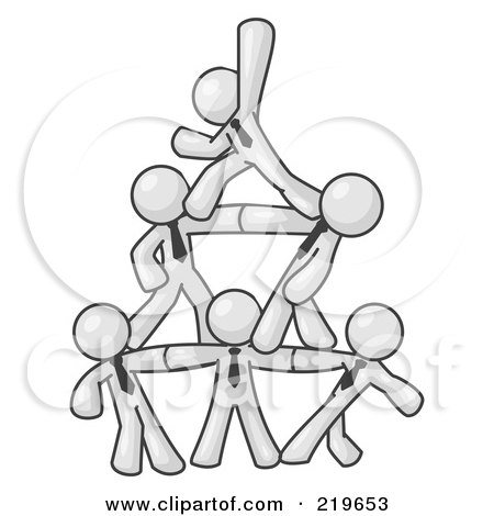 Royalty-Free (RF) Clipart Illustration of a Group of White Businessmen Piling up to Form a Pyramid by Leo Blanchette