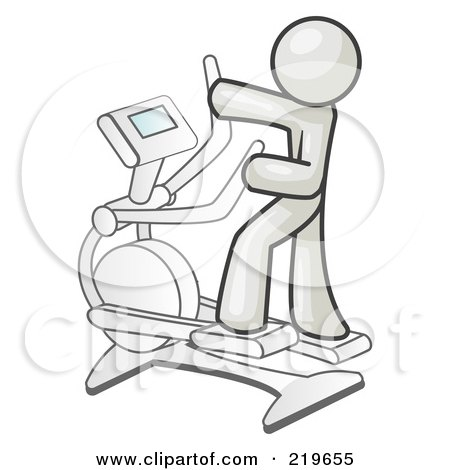 Royalty-Free (RF) Clipart Illustration of a White Man Exercising on a Cross Trainer in a Gym by Leo Blanchette