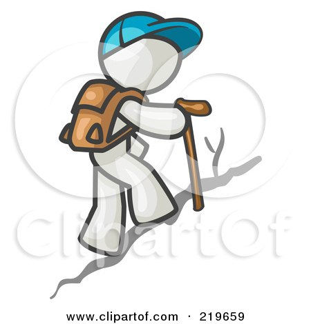 Royalty-Free (RF) Clipart Illustration of a White Man Backpacking and Hiking Uphill by Leo Blanchette