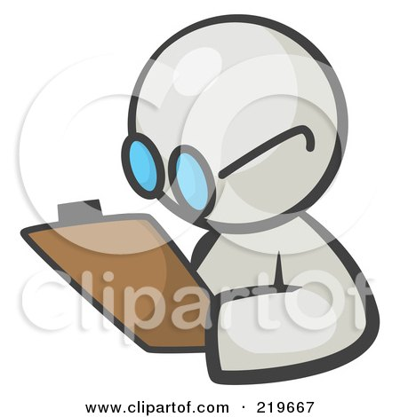 Royalty-Free (RF) Clipart Illustration of a White Man Avatar Writing Notes On A Clipboard by Leo Blanchette