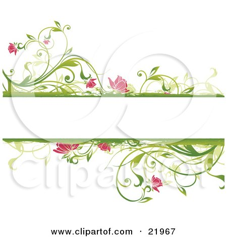 Clipart Picture Illustration of a Blank White Text Space With Floral Borders Of Green Plants And Pink Flowers by OnFocusMedia