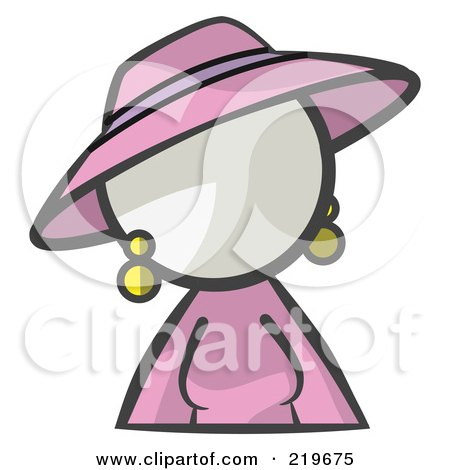 Royalty-Free (RF) Clipart Illustration of a White Woman Avatar In A Dress And Hat by Leo Blanchette