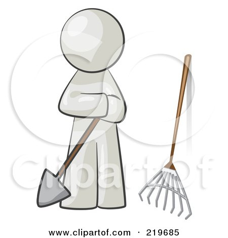 Royalty-Free (RF) Clipart Illustration of a White Man Gardener With A Shovel And A Rake by Leo Blanchette