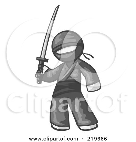 Royalty-Free (RF) Clipart Illustration of a White Man Ninja Holding A Sword by Leo Blanchette