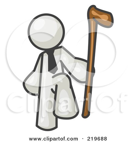 Royalty-Free (RF) Clipart Illustration of a White Man Holding a Cane by Leo Blanchette