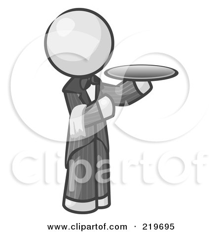 Royalty-Free (RF) Clipart Illustration of a White Man Waitor Holding A Platter by Leo Blanchette
