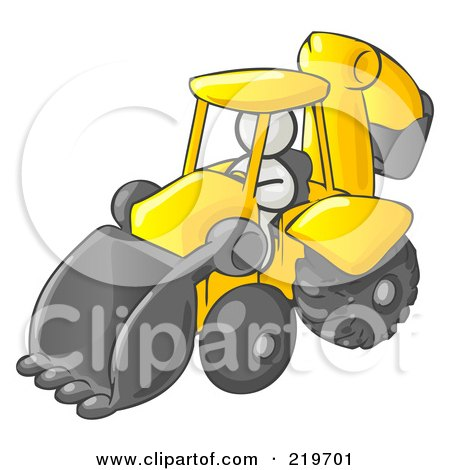 Royalty-Free (RF) Clipart Illustration of a White Man Operating A Yellow Backhoe Machine At A Construction Site by Leo Blanchette