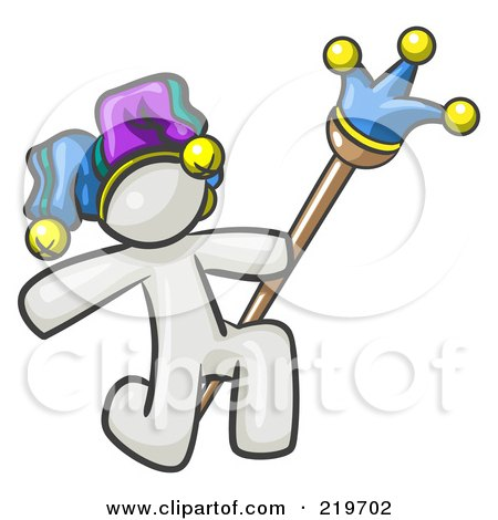 Royalty-Free (RF) Clipart Illustration of a White Design Mascot Man Court Jester Kneeling by Leo Blanchette