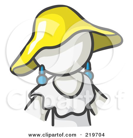 Royalty-Free (RF) Clipart Illustration of a White Woman Avatar In A White Dress And Yellow Hat by Leo Blanchette