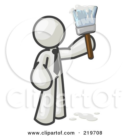 Royalty-Free (RF) Clipart Illustration of a White Man Painter Holding A Dripping Paint Brush by Leo Blanchette