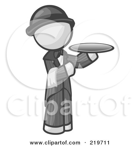 Royalty-Free (RF) Clipart Illustration of a White Man Butler Serving A Platter by Leo Blanchette