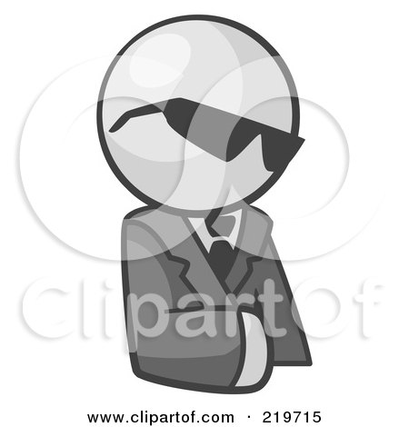 Royalty-Free (RF) Clipart Illustration of a White Man Businessman Avatar Wearing Shades by Leo Blanchette